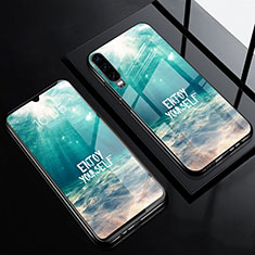 Coque Contour Silicone et Vitre Motif Fantaisie Miroir Etui Housse F01 pour Huawei P30 Cyan