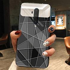 Coque Contour Silicone et Vitre Motif Fantaisie Miroir Etui Housse K01 pour OnePlus 7T Pro Noir
