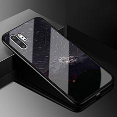 Coque Contour Silicone et Vitre Motif Fantaisie Miroir Etui Housse K01 pour Samsung Galaxy Note 10 Plus 5G Gris Fonce