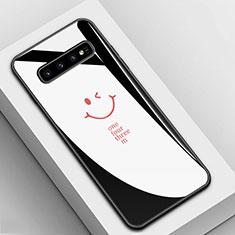 Coque Contour Silicone et Vitre Motif Fantaisie Miroir Etui Housse K01 pour Samsung Galaxy S10 5G Noir