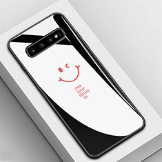 Coque Contour Silicone et Vitre Motif Fantaisie Miroir Etui Housse K01 pour Samsung Galaxy S10 Noir
