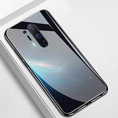 Coque Contour Silicone et Vitre Motif Fantaisie Miroir Etui Housse M01 pour OnePlus 8 Pro Noir