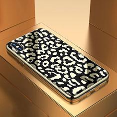 Coque Contour Silicone et Vitre Motif Fantaisie Miroir Etui Housse pour Apple iPhone Xs Noir
