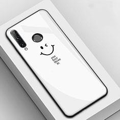 Coque Contour Silicone et Vitre Motif Fantaisie Miroir Etui Housse pour Huawei Enjoy 9s Blanc