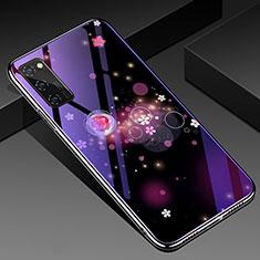 Coque Contour Silicone et Vitre Motif Fantaisie Miroir Etui Housse pour Huawei Honor View 30 Pro 5G Violet