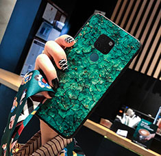 Coque Contour Silicone et Vitre Motif Fantaisie Miroir Etui Housse pour Huawei Mate 20 Vert