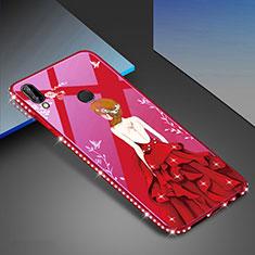 Coque Contour Silicone et Vitre Motif Fantaisie Miroir Etui Housse pour Huawei P20 Lite Rouge