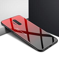 Coque Contour Silicone et Vitre Motif Fantaisie Miroir Etui Housse pour OnePlus 8 Pro Rouge