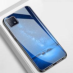 Coque Contour Silicone et Vitre Motif Fantaisie Miroir Etui Housse pour Oppo A73 5G Bleu