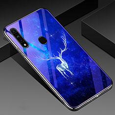 Coque Contour Silicone et Vitre Motif Fantaisie Miroir Etui Housse pour Oppo A8 Bleu