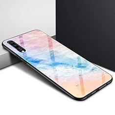 Coque Contour Silicone et Vitre Motif Fantaisie Miroir Etui Housse pour Samsung Galaxy A70 Colorful