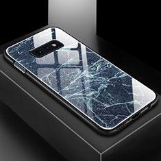 Coque Contour Silicone et Vitre Motif Fantaisie Miroir Etui Housse pour Samsung Galaxy S10e Bleu