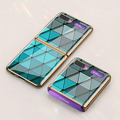 Coque Contour Silicone et Vitre Motif Fantaisie Miroir Etui Housse pour Samsung Galaxy Z Flip 5G Cyan