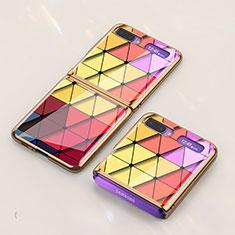 Coque Contour Silicone et Vitre Motif Fantaisie Miroir Etui Housse pour Samsung Galaxy Z Flip Colorful