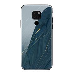 Coque Contour Silicone et Vitre Motif Fantaisie Miroir Etui Housse S01 pour Huawei Mate 20 Bleu