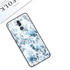 Coque Contour Silicone et Vitre Motif Fantaisie Miroir Etui Housse S01 pour Huawei Mate 20 Lite Bleu