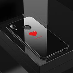 Coque Contour Silicone et Vitre Motif Fantaisie Miroir Etui Housse S01 pour Huawei P20 Lite Noir