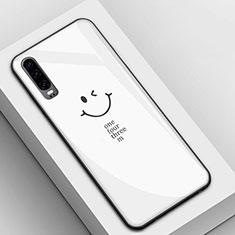 Coque Contour Silicone et Vitre Motif Fantaisie Miroir Etui Housse S01 pour Huawei P30 Blanc