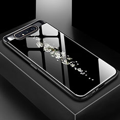 Coque Contour Silicone et Vitre Motif Fantaisie Miroir Etui Housse S01 pour Samsung Galaxy A80 Noir