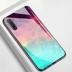 Coque Contour Silicone et Vitre Motif Fantaisie Miroir Etui Housse S01 pour Samsung Galaxy Note 10 Cyan
