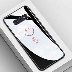Coque Contour Silicone et Vitre Motif Fantaisie Miroir Etui Housse S01 pour Samsung Galaxy S10e Noir