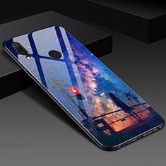 Coque Contour Silicone et Vitre Motif Fantaisie Miroir Etui Housse S02 pour Huawei Honor 10 Lite Bleu