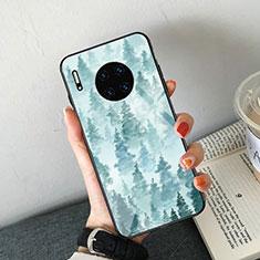 Coque Contour Silicone et Vitre Motif Fantaisie Miroir Etui Housse S02 pour Huawei Mate 30 5G Bleu Ciel