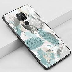Coque Contour Silicone et Vitre Motif Fantaisie Miroir Etui Housse S02 pour Huawei Mate 30 Lite Cyan