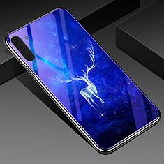 Coque Contour Silicone et Vitre Motif Fantaisie Miroir Etui Housse S02 pour Samsung Galaxy Note 10 Bleu