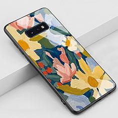 Coque Contour Silicone et Vitre Motif Fantaisie Miroir Etui Housse S02 pour Samsung Galaxy S10e Jaune