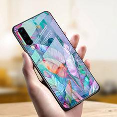 Coque Contour Silicone et Vitre Motif Fantaisie Miroir Etui Housse S03 pour Huawei P30 Bleu