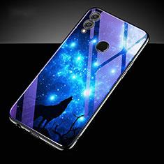 Coque Contour Silicone et Vitre Motif Fantaisie Miroir Etui Housse S04 pour Huawei Honor 10 Lite Bleu