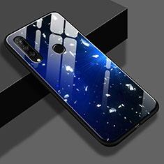 Coque Contour Silicone et Vitre Motif Fantaisie Miroir M02 pour Huawei P30 Lite Bleu