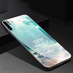 Coque Contour Silicone et Vitre Motif Fantaisie Miroir pour Huawei P30 Pro Cyan