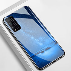 Coque Contour Silicone et Vitre Paillette Etoile Miroir Etui Housse pour Huawei Honor Play4T Pro Bleu