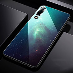 Coque Contour Silicone et Vitre Paillette Etoile Miroir Etui Housse pour Huawei P30 Bleu