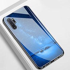 Coque Contour Silicone et Vitre Paillette Etoile Miroir Etui Housse pour Samsung Galaxy Note 10 Plus Bleu