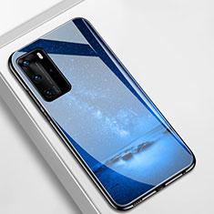Coque Contour Silicone et Vitre Paillette Etoile Miroir Etui Housse S01 pour Huawei P40 Pro Bleu