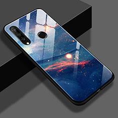 Coque Contour Silicone et Vitre Paillette Etoile Miroir S02 pour Huawei P30 Lite Bleu