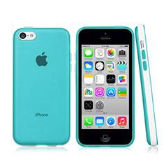 Coque Contour Silicone et Vitre Transparente Mat pour Apple iPhone 5C Bleu Ciel