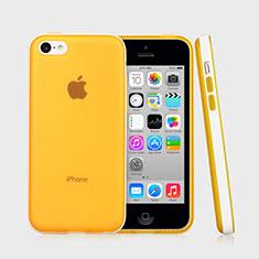 Coque Contour Silicone et Vitre Transparente Mat pour Apple iPhone 5C Jaune