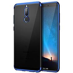 Coque Contour Silicone et Vitre Transparente Mat pour Huawei Mate 10 Lite Bleu