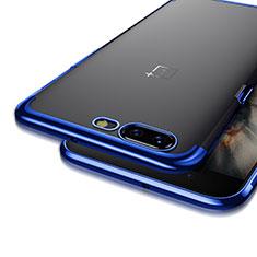 Coque Contour Silicone et Vitre Transparente Mat pour OnePlus 5 Bleu