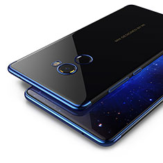 Coque Contour Silicone et Vitre Transparente Mat pour Xiaomi Mi Mix 2 Bleu