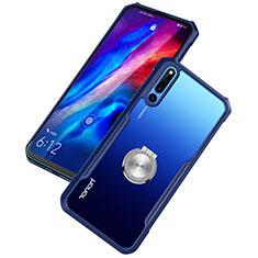 Coque Contour Silicone et Vitre Transparente Miroir 360 Degres avec Support Bague Anneau Aimante Magnetique A01 pour Huawei Honor Magic 2 Bleu
