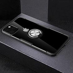 Coque Contour Silicone et Vitre Transparente Miroir 360 Degres avec Support Bague Anneau Aimante Magnetique M01 pour Apple iPhone 11 Pro Max Noir