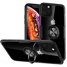 Coque Contour Silicone et Vitre Transparente Miroir 360 Degres avec Support Bague Anneau Aimante Magnetique M02 pour Apple iPhone 11 Pro Max Noir
