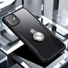 Coque Contour Silicone et Vitre Transparente Miroir 360 Degres avec Support Bague Anneau Aimante Magnetique pour Apple iPhone 11 Noir