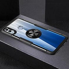 Coque Contour Silicone et Vitre Transparente Miroir 360 Degres avec Support Bague Anneau Aimante Magnetique pour Huawei Honor 10 Lite Noir