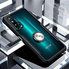 Coque Contour Silicone et Vitre Transparente Miroir 360 Degres avec Support Bague Anneau Aimante Magnetique pour Huawei Honor 20 Pro Noir
